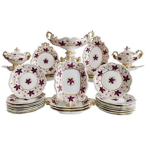 Coalport dessert service, purple vines, rams heads, ca 1820