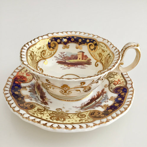 Teacup and saucer, hand painted landscapes, H&R Daniel ca1830