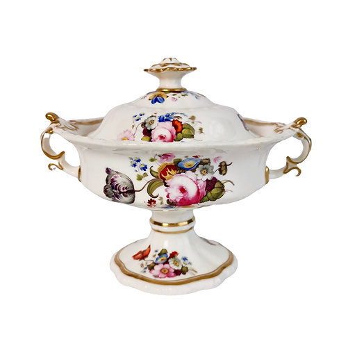 Sauce tureen, attr. Hicks & Meigh, hand painted flowers, ca 1820