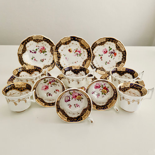 Yates part tea set, patt. 812 Chinese keys and flowers, ca 1825