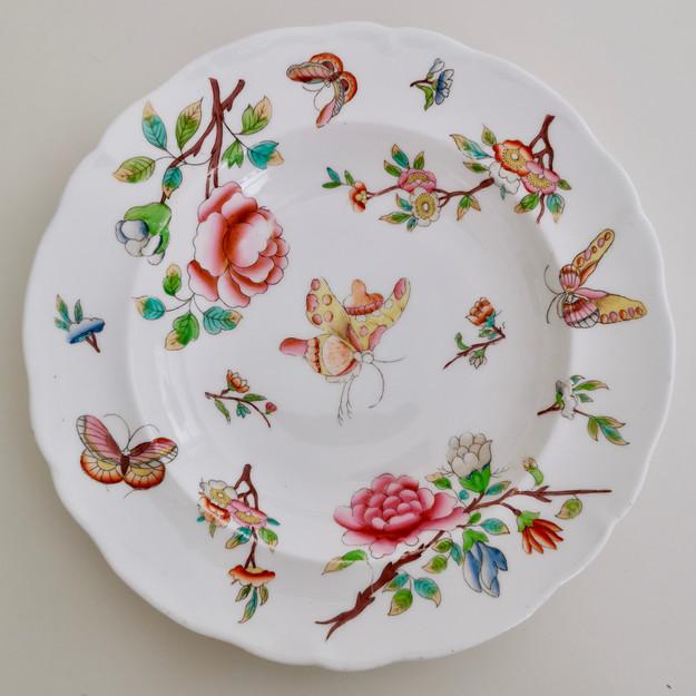 Soup plate, poss. Minton, Chinoiserie butterflies, ca 1820