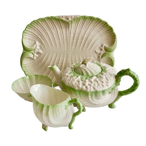 Belleek cabaret teapot set, green Neptune, 2nd BM 1891-1926