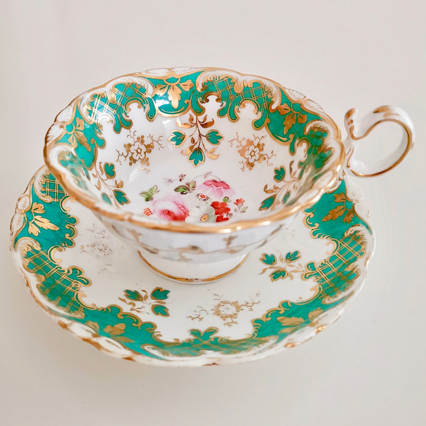 Coalport Adelaide shape teacup, green and flowers, ca 1870