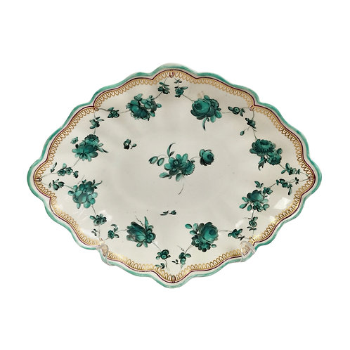 Chelsea lozenge dish, teal flower garlands James Giles, puce anchor, 1753-1758