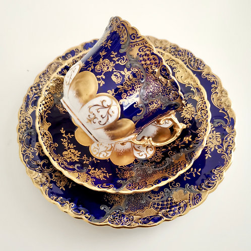 Aynsley trio, cobalt blue with tooled gilt and silver, 1891-1912