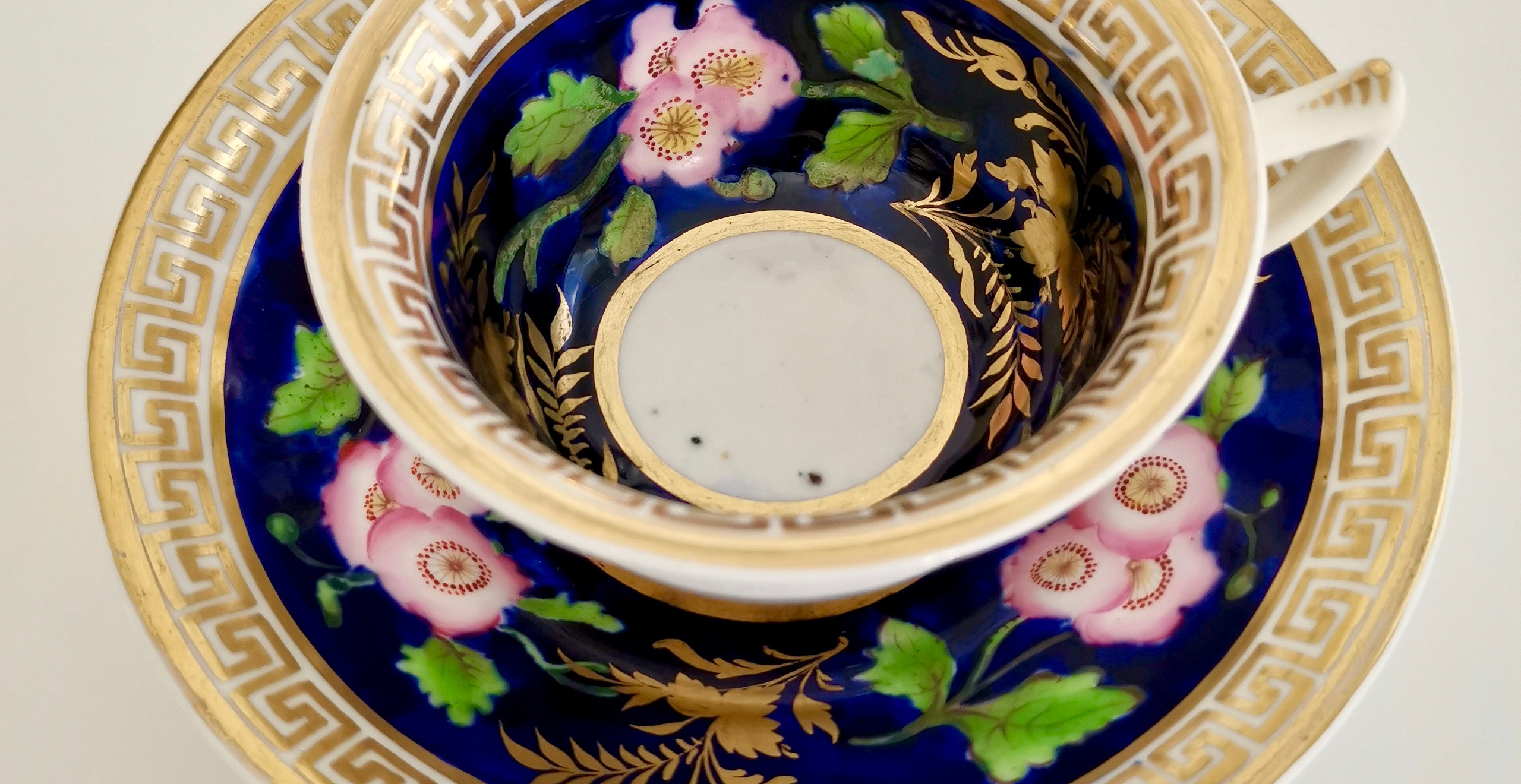 Hilditch teacup with dog roses ca 1820