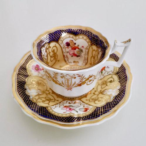 Yates coffee cup, cobalt blue, gilt and flowers patt. 1033, 1820-1825