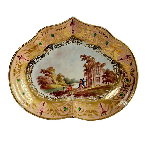 Derby kidney shaped dish, landscape North Wales, ca 1810