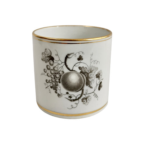 Thomas Wolfe Factory Z orphaned coffee can, bat printed fruit, ca 1810