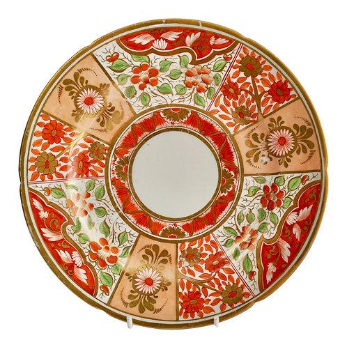 Coalport John Rose dessert plate, Japan pattern, peach, orange and gilt, ca 1805