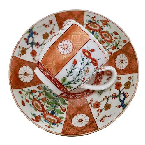 Worcester coffee cup, James Giles Old Scarlet Japan, ca 1770