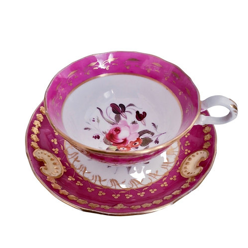 Staffordshire teacup, moulded, puce with flowers, 1830-1835