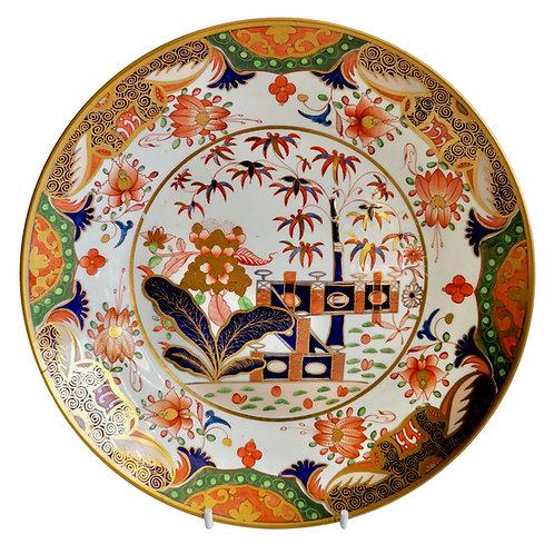 Spode saucer dish plate, Imari Tobacco Leaf patt. 967, ca 1815