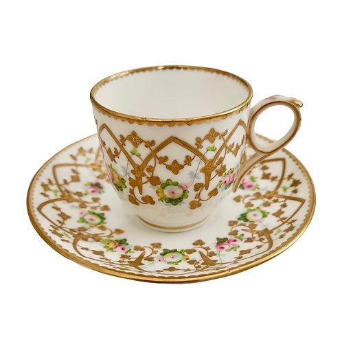 Sampson Bridgwood teacup, raised gilt ca 1860