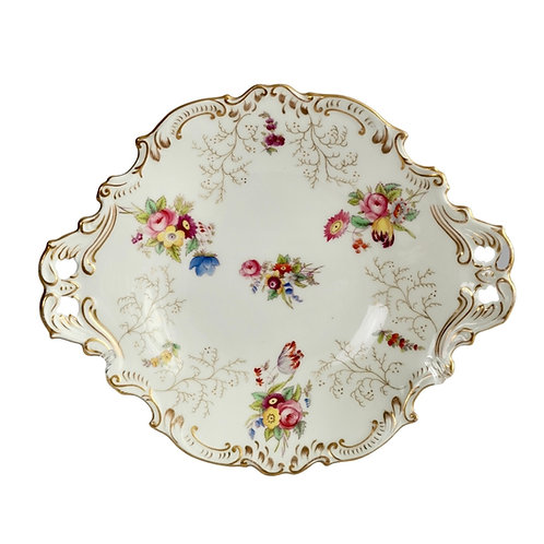Coalport serving dish, white with flowers, 1891-1926