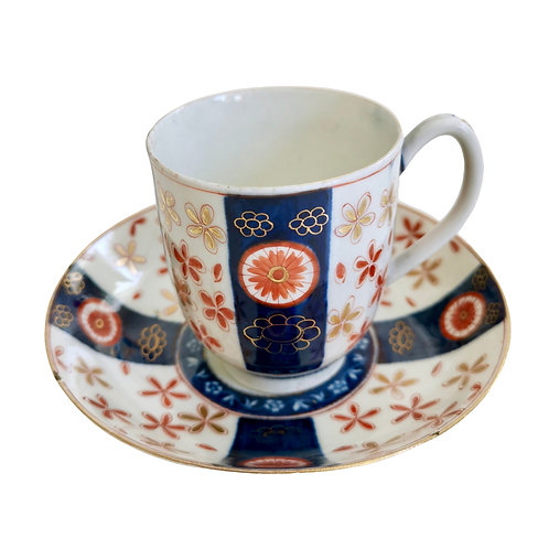 Worcester coffee cup and saucer, Old Japan Star, 1st Period ca 1765 (A/F)