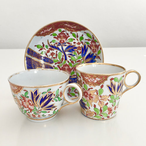 "Tea/coffee cup trio, ""Thumb & Finger"", Chamberlain Worcester 1805"