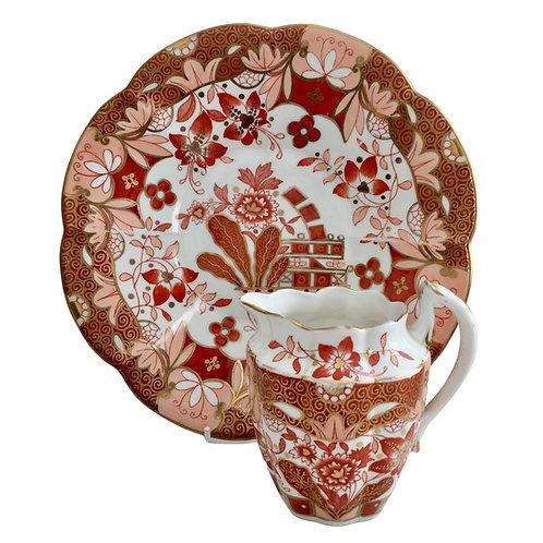 Wileman milk jug & cake plate, Japan Oriental Flowers, 1889