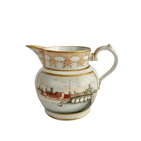 Grainger Worcester monogrammed jug, views of Worcester, 1814