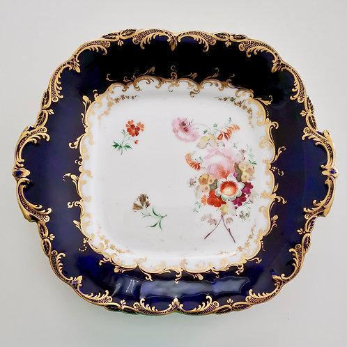 Coalport cake plate, cobalt blue Adelaide shape, patt. 4/388, 1840