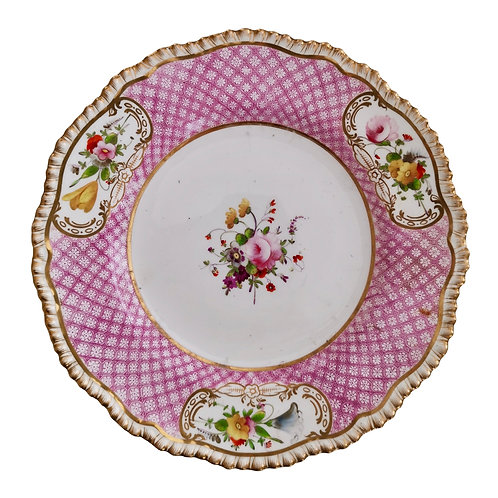Coalport plate, pink latticed ground with flowers, 1820-1825