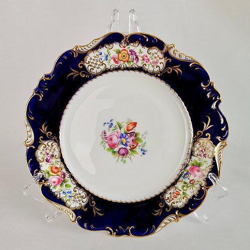 Coalport plate, feather moulded cobalt blue, patt. 3/793, 1837