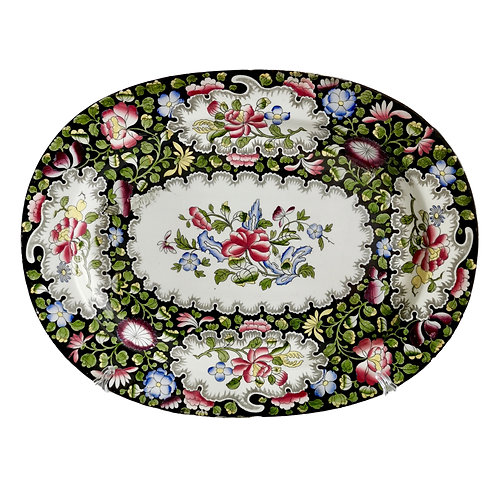 Staffordshire creamware platter, black floral printed and hand coloured, ca 1845