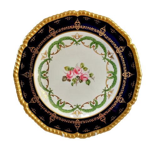 Royal Crown Derby plate, cobalt blue, gilt and Billingsley roses, 1907