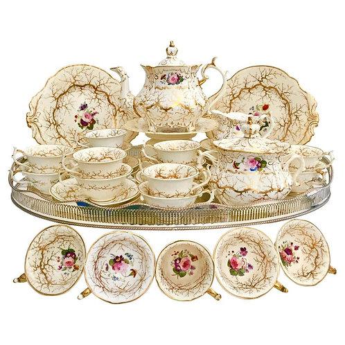 Rockingham tea service, cream, gilt seaweed, flowers, Rococo Revival, 1832