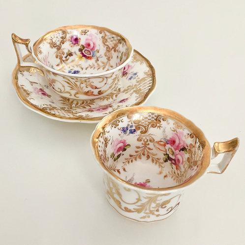 Tea/coffee trio, gilt & hand painted flowers, Ridgway 1825