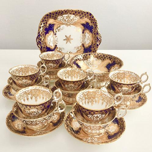 Part tea set for 6, lavish gilt pattern, Minton ca 1845