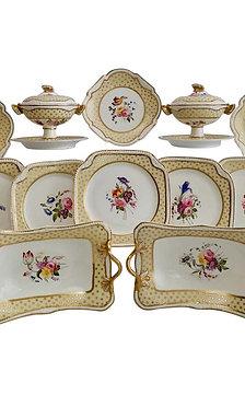 Spode Felspar dessert service, yellow, butterfly handles, 1822