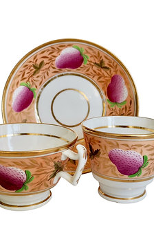 Coalport John Rose true trio, pink strawberries on peach, ca 1815