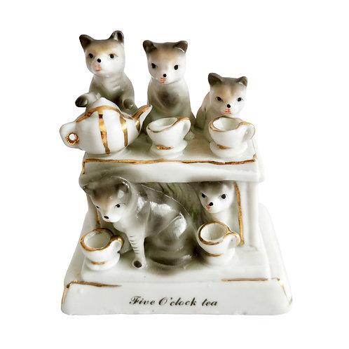 """Fairing, """"Five O'clock Tea"""" cats' tea party, 19th C"""