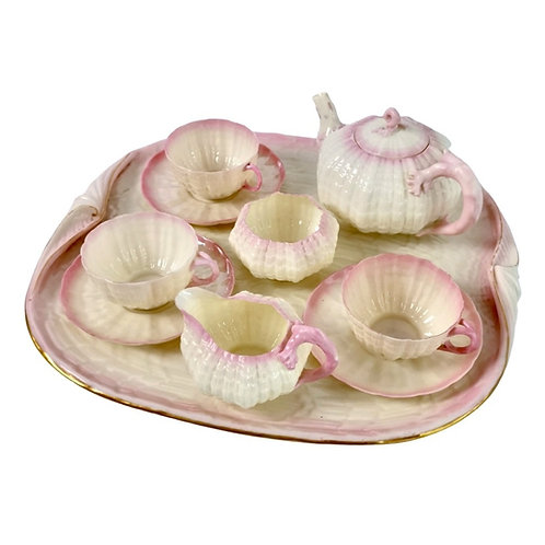 Belleek cabaret set, pink Tridacna 2nd BM 1891-1926