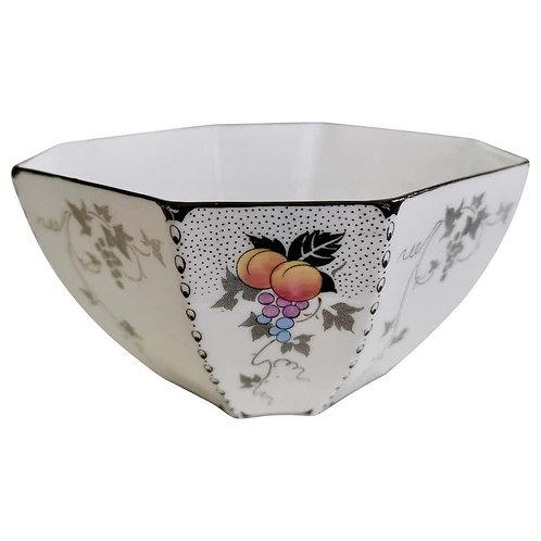 Shelley Art Deco slop bowl, Peaches & Grapes patt. 11498 on Que