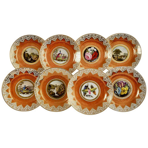 Chamberlains Worcester set of 8 plates, orange with paintings, ca 1815