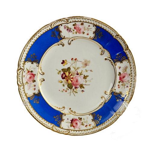 Coalport dessert plate, Brunswick blue and flowers patt. 2/382, 1827