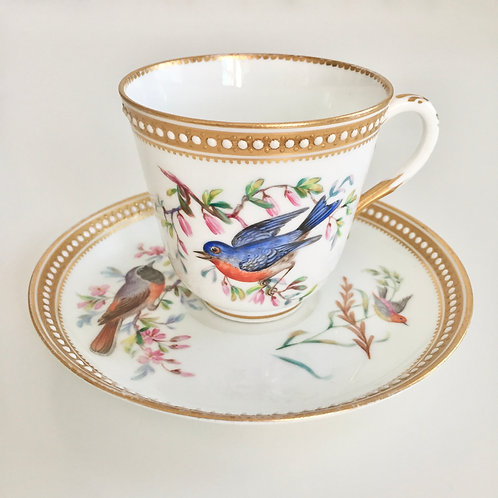 Jewelled Teacup with Hand Painted Birds, Royal Worcester 1868