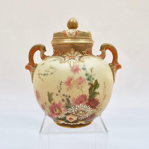 Royal Worcester lidded potpourri pot, blush ivory, 1914