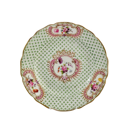 Coalport small plate, moulded surface and flowers, Regency ca 1820