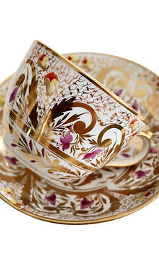 Teacup Miles Mason, Regency gilt pattern, provenance, ca 1810