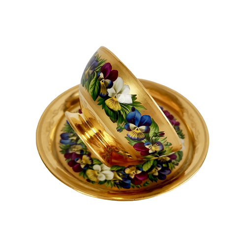 Vienna teacup and saucer, gilt and pansies by Anton Friedl, 1826