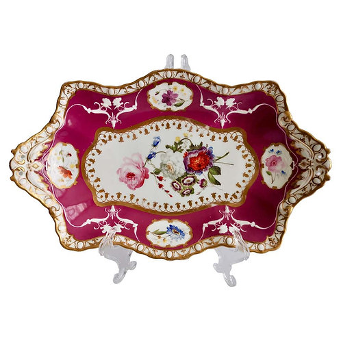 Spode Felspar dish, maroon with sublime flowers, 1831