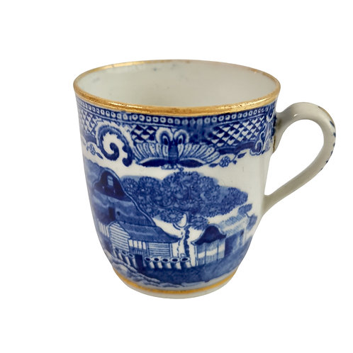 New Hall orphaned coffee cup, blue and white Malay House pattern, ca 1795 (2)