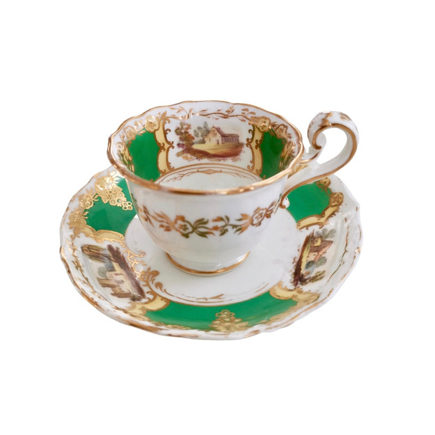 Coalport coffee cup and saucer, landscapes, 1829