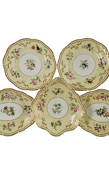 Copeland & Garrett Felspar dessert set, flowers and butterflies, 1833-1847