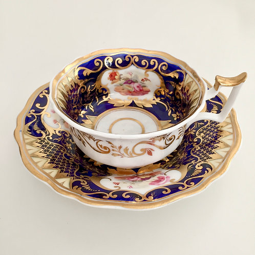 Yates teacup and saucer, hand painted flowers, ca 1825