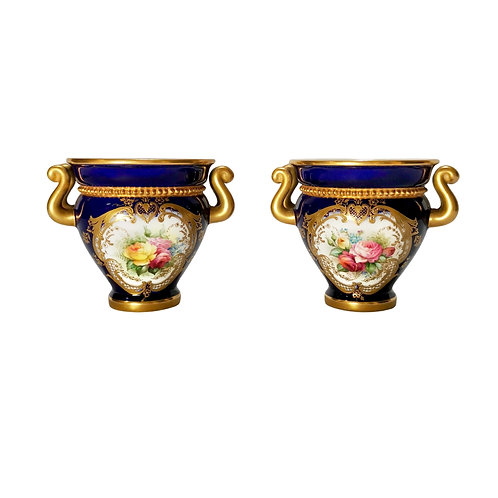 Royal Worcester set of 2 glaux vases, mazarine blue, flowers by H Chair, 1905