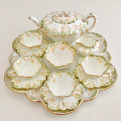 Cabaret tea set for four, Ivy pattern on Empire shape, Wileman 1893